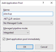 ubackup Application Pool